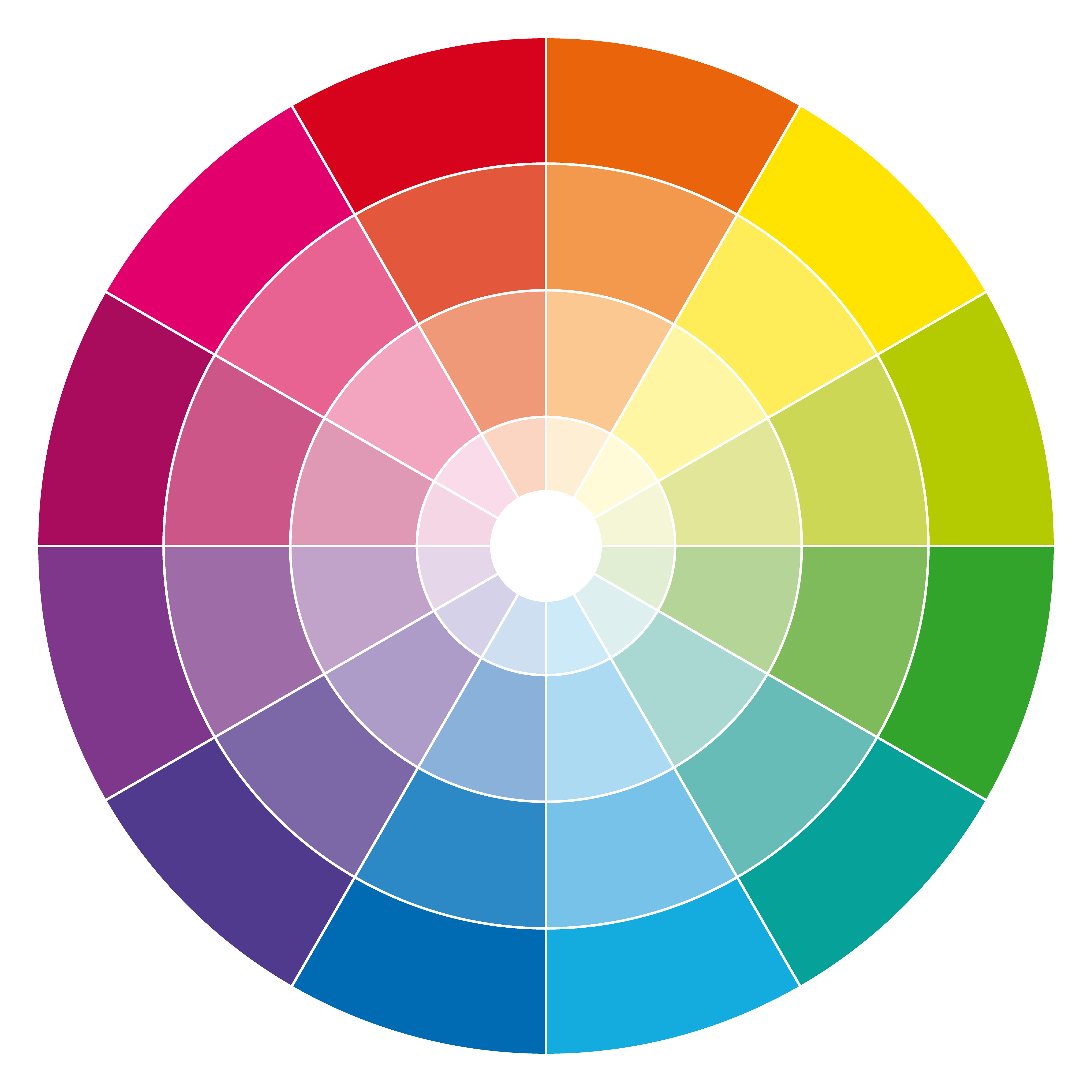 image of a colour wheel showing different shades of primary, secondary and tertiary colours